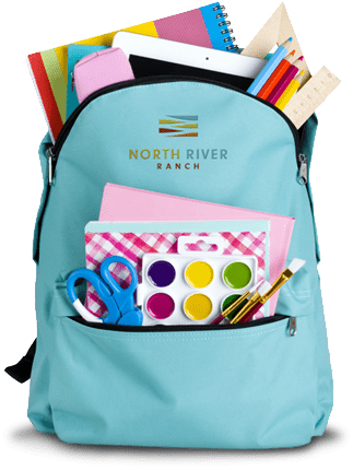 kids backpack with school supplies