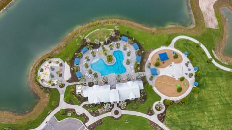 Aerial view new community pool and clubhouse North River Ranch Parrish