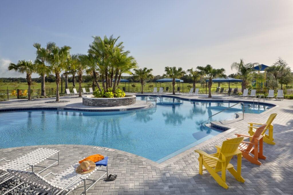 Pool and cabanas at North River Ranch