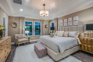 Master bedroom with white tray paneled ceiling