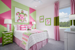 Themed pink and green girls bedroom