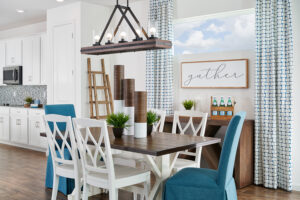 Casual dining white and blue model home