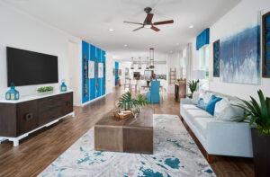 Living room blue walls model home north river ranch