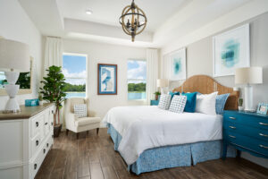 Master bedroom blue furniture and accents