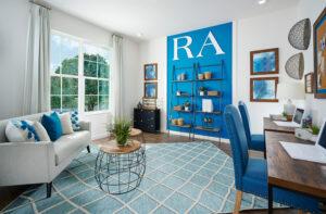 Den Study blue accent wall model home