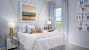 guest bedroom with modern art model home