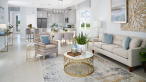 White gold and blue living room model home
