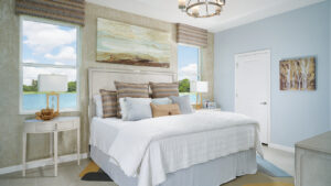 White linens with ecru and blue accents