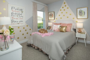 Pink gold grey themed ballet dancer bedroom