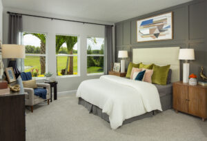 Master suite grey wood panel wall