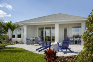 rear paved patio and lanai model home