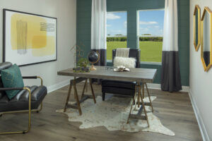 study den teal accent wall model north river ranch