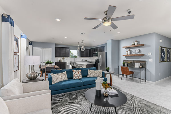 Blue and white sofas in a model home north river ranch Parrish Florida