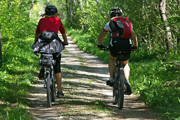 Two bicycle riders on a trail