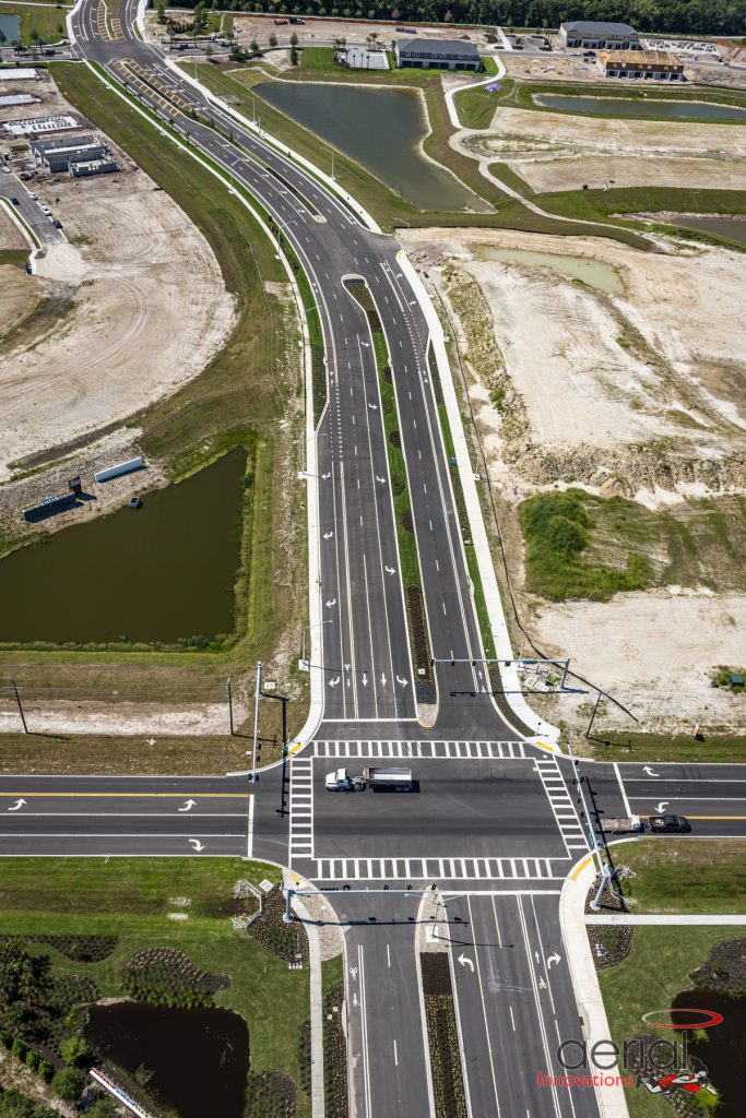Aerial traffic lighted crossroad Parrish Florida