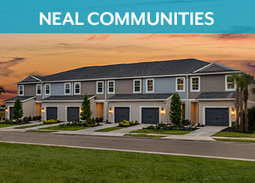 Dusk Row of townhomes with 1 car garage north river ranch