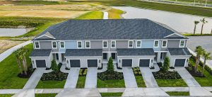 Aerial Single car garage townhome models north river ranch