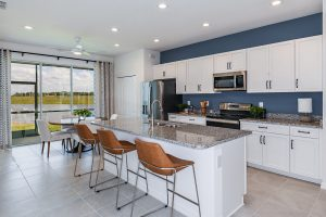 Modern white kitchen with leather bar stools blue walls