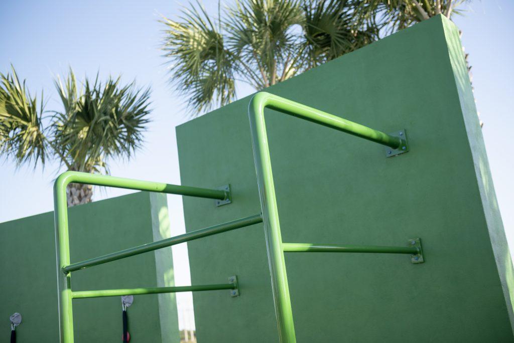 Outdoor fitness green climbing wall
