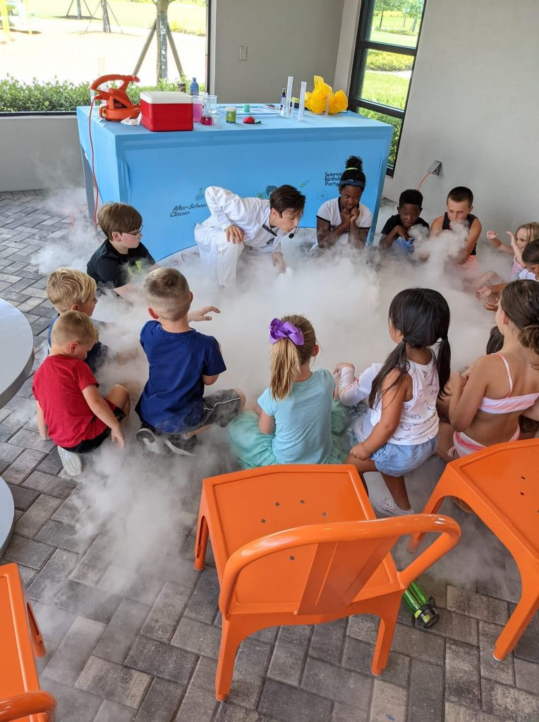 kids with dry ice experiment north river ranch parrish