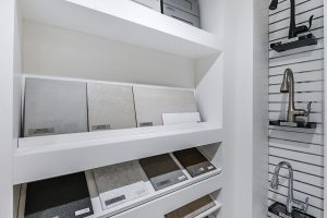 New Home Community - New Construction Homes For Sale - shelves with tiles for new home design center